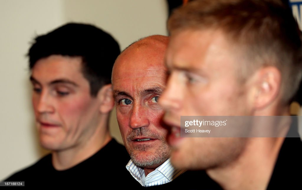 Shane McGuigan and <a gi-track='captionPersonalityLinkClicked' href=/galleries/search?phrase=Barry+McGuigan&family=editorial&specificpeople=624402 ng-click='$event.stopPropagation()'>Barry McGuigan</a> look on at <a gi-track='captionPersonalityLinkClicked' href=/galleries/search?phrase=Andrew+Flintoff&family=editorial&specificpeople=171169 ng-click='$event.stopPropagation()'>Andrew Flintoff</a> during a press conference for his Heavyweight bout with Richard Dawson at The Hilton Hotel on November 29, 2012 in Manchester, England.