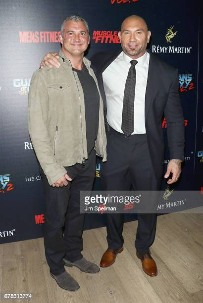 Shane McMahon and actor Dave Bautista attend the screening of Marvel Studios' 'Guardians Of The Galaxy Vol 2' hosted by The Cinema Society at the...
