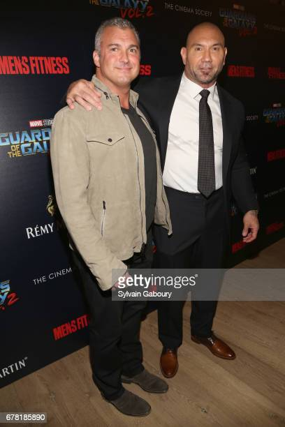 Shane McMahon and Dave Bautista attend The Cinema Society with Men's Fitness Muscle Fitness and Remy Martin host a screening of Marvel Studios'...