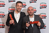 Shane Meadows with the Best TV Series Award and Paddy Considine with the Empire Inspiration award in the winners room at the Jameson Empire Awards...