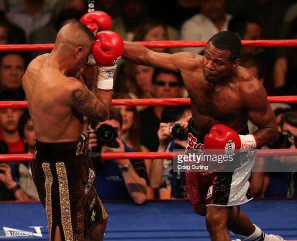 Shane Mosley and Fernando Vargas in action during their rematch at the MGM Grand Garden Arena in Las Vegas Nevada on July 15 2006
