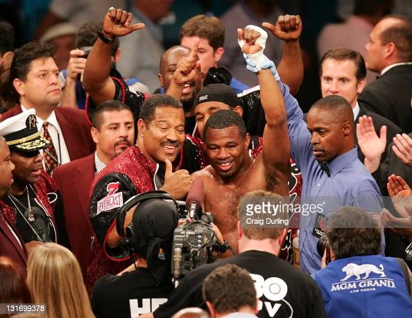 Shane Mosley celebrates his victory over Fernando Vargas during their rematch at the MGM Grand Garden Arena in Las Vegas Nevada on July 15 2006
