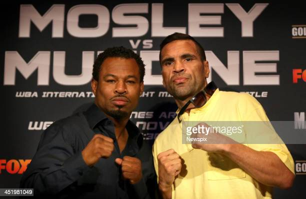 Shane Mosley of the United States and Anthony Mundine of Australia attend a press conference to promote their upcoming fight at Allphones Arena on...