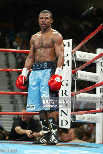 Shane Mosley pictured fights Oscar De La Hoya black trunks during a 12round WBC/WBA Super Welterweight Championship bout held a the MGM Grand Garden...