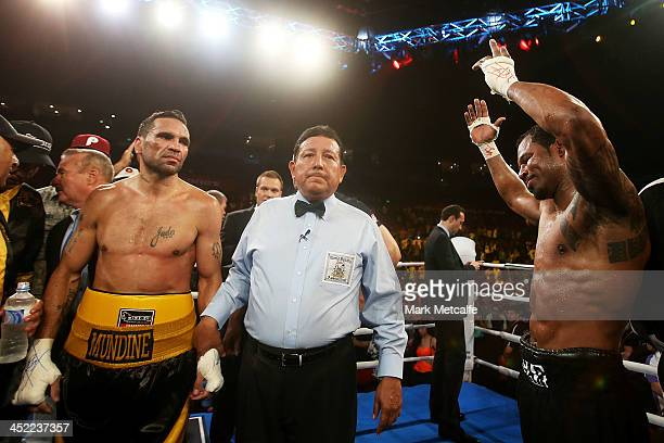 Shane Mosley reacts after his sixthround TKO defeat to Anthony Mundine during the WBA International super welterweight title bout between Anthony...