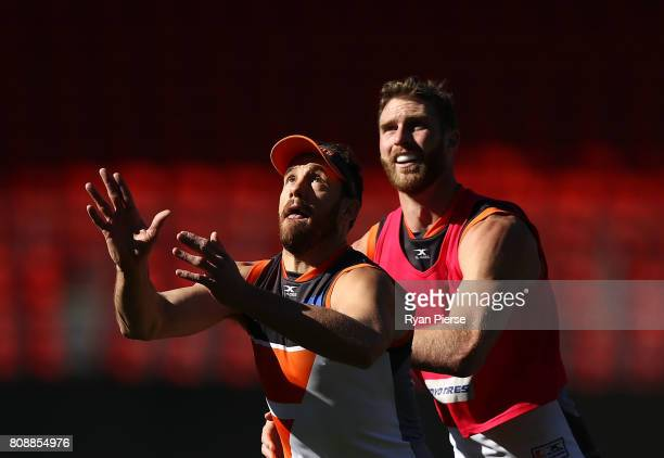 Shane Mumford and Dawson Simpson of the Giants train during a Greater Western Sydney Giants AFL training session at Spotless Stadium on July 5 2017...
