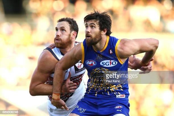 Shane Mumford of the Giants and Josh Kennedy of the Eagles contest the ruck during the round 10 AFL match between the West Coast Eagles and the...