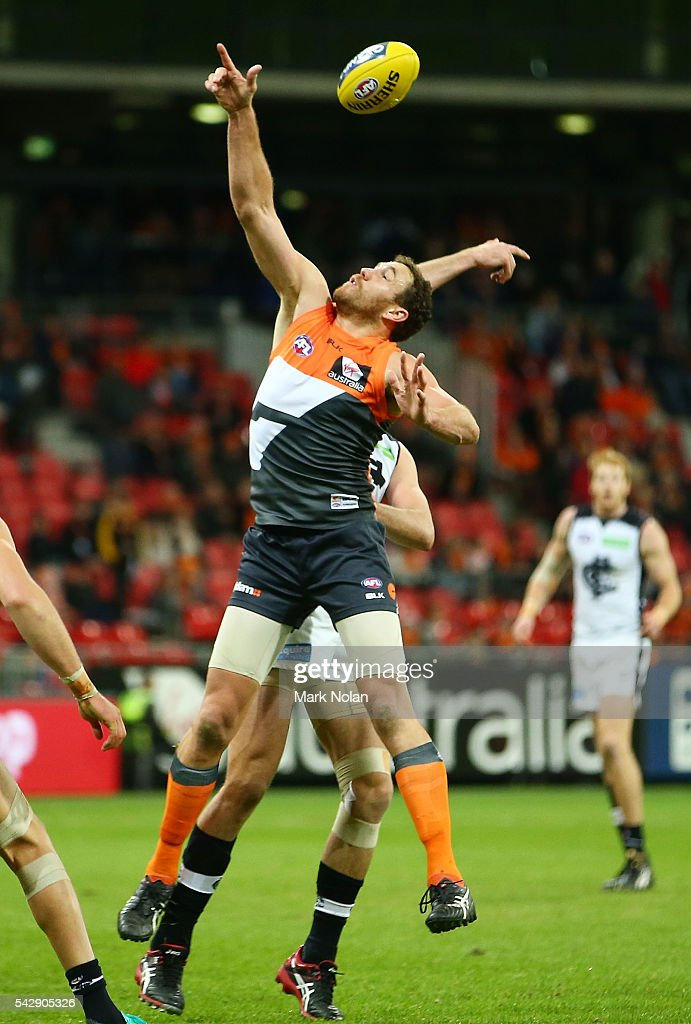 Shane Mumford of the Giants in action during the round 14 AFL match between the Greater Western Sydney Giants and the Carlton Blues at Spotless Stadium on June 25, 2016 in Sydney, Australia.