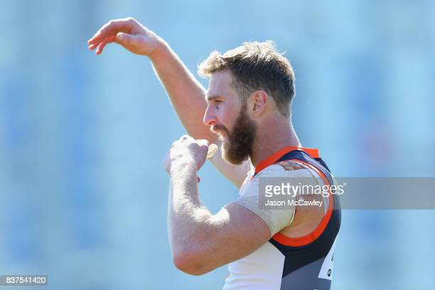 Shane Mumford of the Giants look on during a Greater Western Sydney Giants AFL media opportunity at Sydney Olympic Park on August 23 2017 in Sydney...