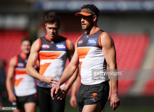Shane Mumford of the Giants looks on during a Greater Western Sydney Giants AFL training session at Spotless Stadium on August 16 2017 in Sydney...