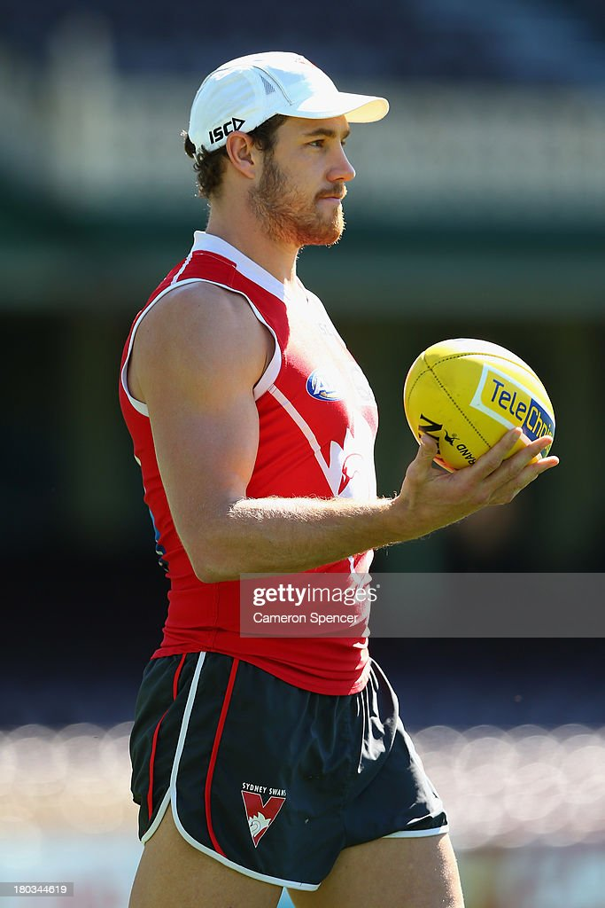 Shane Mumford of the Swans looks on during a Sydney Swans AFL training session at Sydney Cricket Ground on September 12, 2013 in Sydney, Australia.