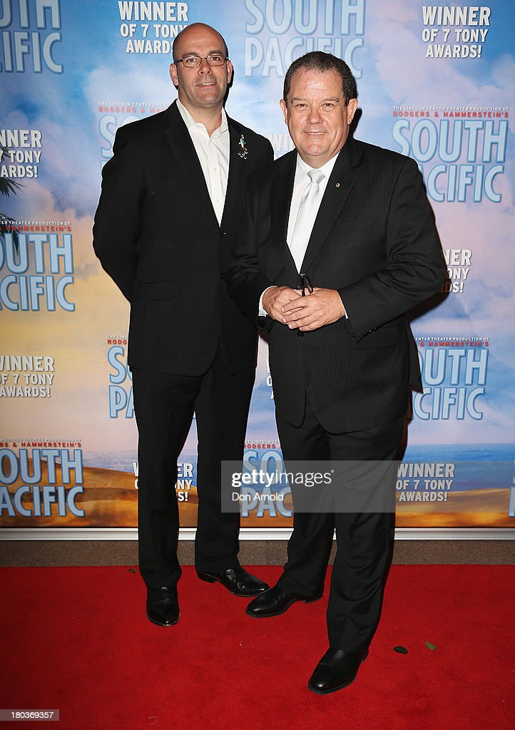 Shane O'Connor and John Frost arrive at Opera Australia's 'South Pacific' opening night at the Sydney Opera House on September 12, 2013 in Sydney, Australia.