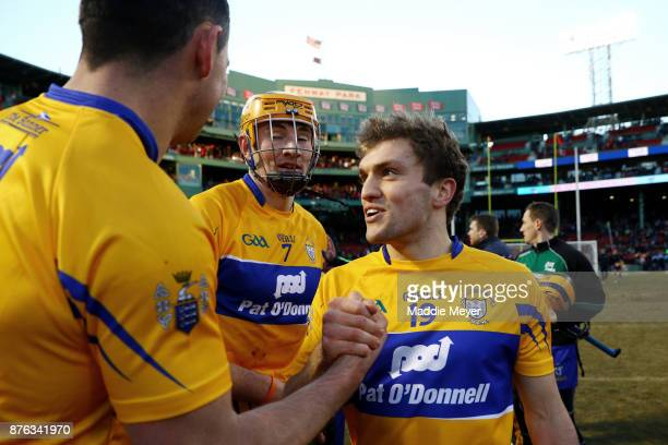 Shane O'Donnell of Clare celebrates with teammates during the 2017 AIG Fenway Hurling Classic and Irish Festival at Fenway Park on November 19 2017...