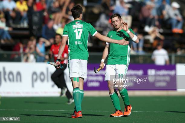 Shane O'Donoghue of Ireland celebrates scoring a goal with Sean Murray of Ireland during the 5th8th place play off match between Ireland and France...