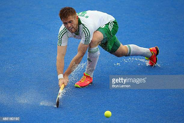 Shane O'Donoghue of Ireland in action during the match between Belgium and Ireland on day five of the Unibet EuroHockey Championships at Lee Valley...