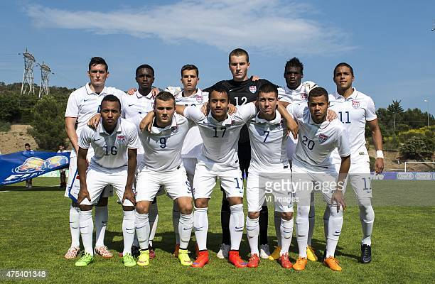 Shane O'Neill of USA U21 Jalen Robinson of USA U21 Marc Pelosi of USA U21 goalkeeper Charlie Horton of USA U21 Fatai Alashe of USA U21 Alonso...