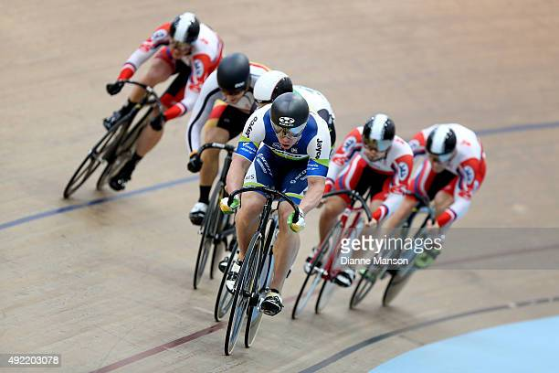 Shane Perkins of Australia out front in the Elite Men Keirin B final during the Oceania Track Cycling Championships on October 11 2015 in...