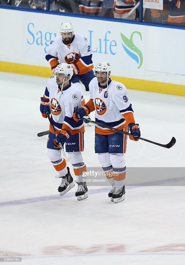 Shane Prince #11 of the New York Islanders and <a gi-track='captionPersonalityLinkClicked' href=/galleries/search?phrase=John+Tavares&family=editorial&specificpeople=601791 ng-click='$event.stopPropagation()'>John Tavares</a> #91 of the New York Islanders talk during pregame skate in Game Two of the Eastern Conference Second Round during the 2016 NHL Stanley Cup Playoffs at Amalie Arena on April 30, 2016 in Tampa, Florida.