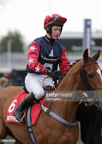 Shane Quinlan during the Betfred 'Treble Odds on Lucky 15's' Novices' Handicap Hurdle Race at Uttoxeter Racecourse on March 14 2015 in Uttoxeter...