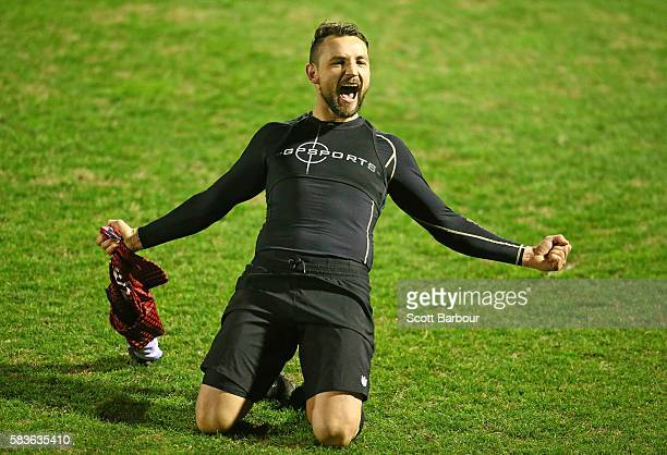 Shane Rexhepi of Hume City celebrates after scoring the final penalty goal to win the FFA Cup round of 32 match between Hume City and Marconi...