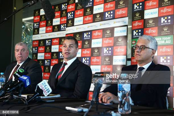 Shane Richardson Anthony Seibold and Nick Pappas speak to the media during a South Sydney Rabbitohs NRL coaching announcement at Redfern Oval on...