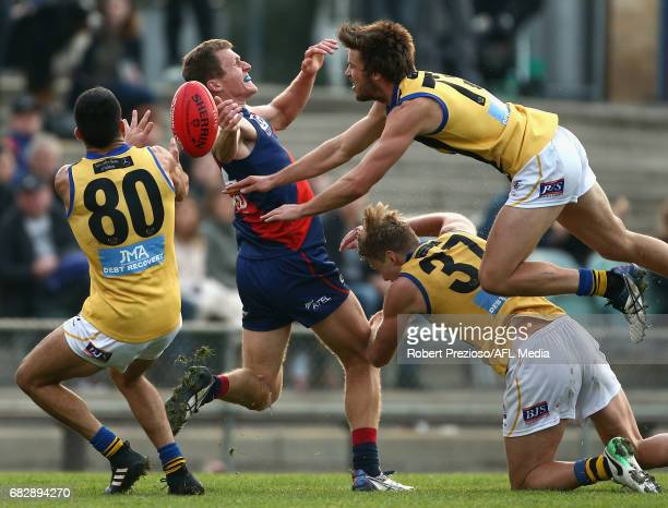 Shane Savage of Sandringham contests the ball during the round five VFL match between Coburg and Sandringham at Pirhana Park on May 14 2017 in...