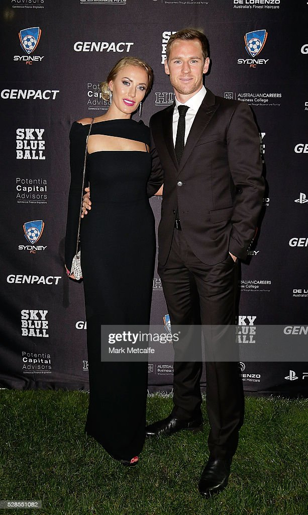Shane Smeltz and Nikki Smeltz pose during the Sydney FC Sky Blue Ball at the Sydney Cricket Ground on May 6, 2016 in Sydney, Australia.