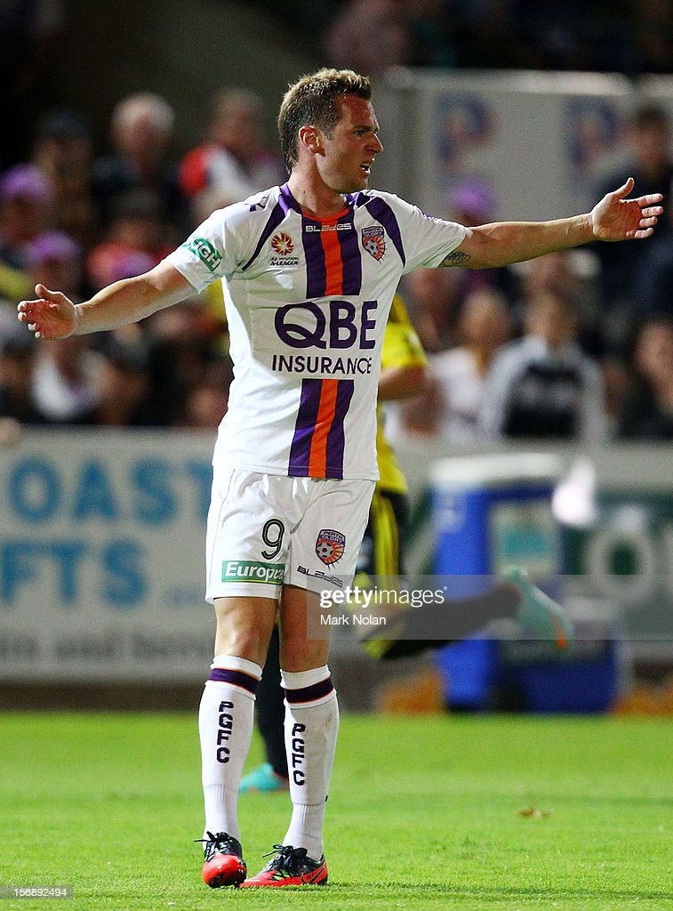 Shane Smeltz of Perth reacts after a tackle during the round eight A-League match between Perth Glory and Wellington Phoenix at NIB Stadium on November 24, 2012 in Perth, Australia.