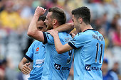 Shane Smeltz of Sydney FC celebrates a goal during the round four ALeague match between the Central Coast Mariners and Sydney FC at Central Coast...