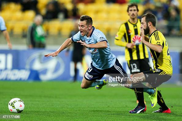 Shane Smeltz of Sydney FC is fouled by Andrew Durante of the Phoenix during the round 26 ALeague match between the Wellington Phoenix and Sydney FC...