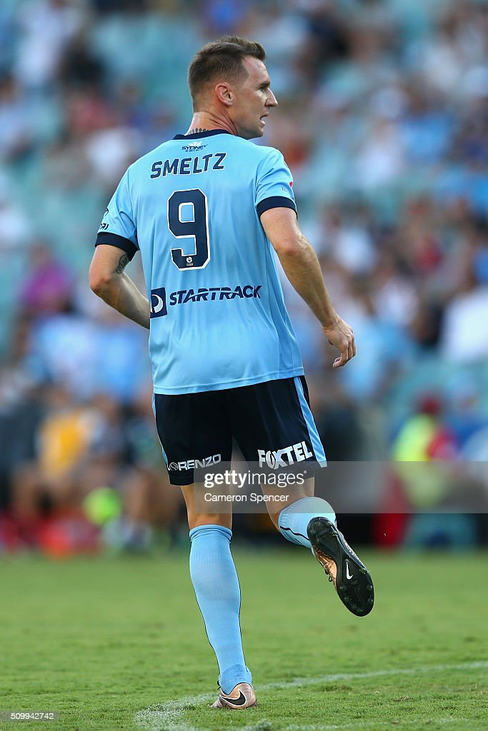 <a gi-track='captionPersonalityLinkClicked' href=/galleries/search?phrase=Shane+Smeltz&family=editorial&specificpeople=881773 ng-click='$event.stopPropagation()'>Shane Smeltz</a> of Sydney FC looks to team mates after scoring a goal during the round 19 A-League match between Sydney FC and the Perth Glory at Allianz Stadium on February 13, 2016 in Sydney, Australia.