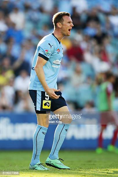 Shane Smeltz of Sydney FC shouts at the referee for a penalty during the round 23 ALeague match between Sydney FC and the Wellington Phoenix at...