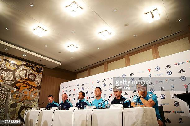Shane Smeltz of Sydney FC Sydney FC head coach Graham Arnold Sydney FC captain Alex Brosque Chelsea FC capatin John Terry Chelsea FC Manager Jose...