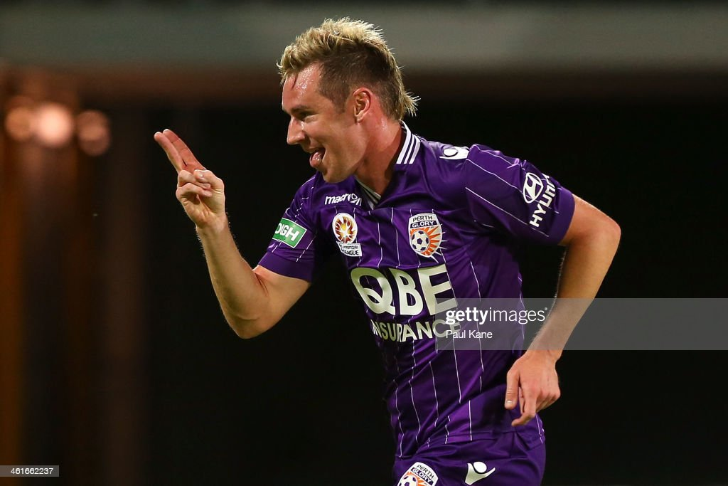 Shane Smeltz of the Glory celebrates his second goal during the round 14 A-League match between Perth Glory and the Melbourne Heart at nib Stadium on January 10, 2014 in Perth, Australia.