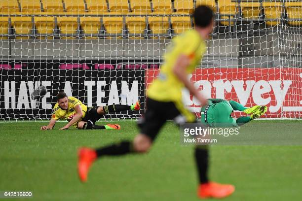 Shane Smeltz Thomas Sorensen goal keeper for Melbourne City during the round 20 ALeague match between the Wellington and Melbourne City at Westpac...