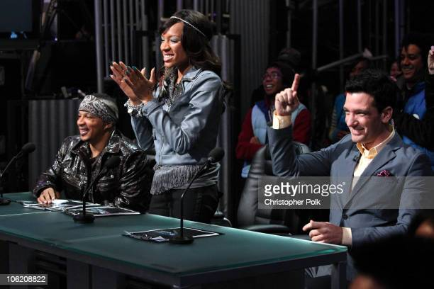 Shane Sparks Lil Mama and JC Chasez during the taping of Randy Jackson Presents 'America's Best Dance Crew' Season 3 in Burbank CA on February 17 2009