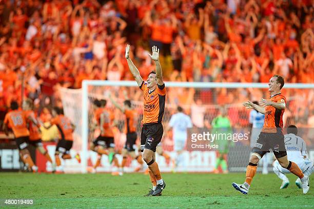 Shane Stefanutto of the Roar celebrates after Roar scored the winning goal during the round 24 ALeague match between Brisbane Roar and Melbourne...