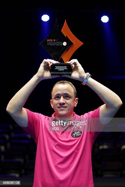 Shane Van Boening of USA celebrates winning the 2014 Partypoker World Pool Masters on November 16 2014 in Nottingham England