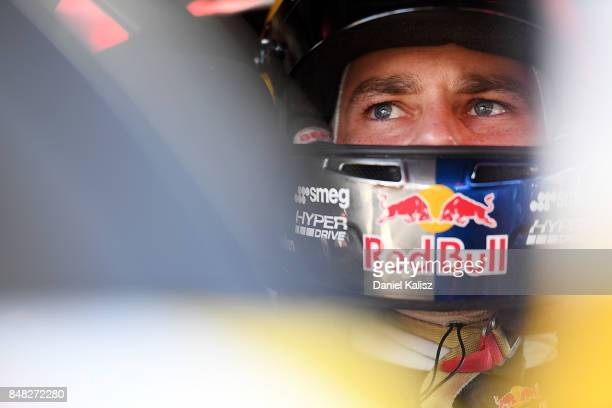 Shane Van Gisbergen driver of the Red Bull Holden Racing Team Holden Commodore VF looks on during the Sandown 500 which is part of the Supercars...