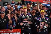 Shane Van Gisbergen driver of the Red Bull Racing Australia Holden Commodore VF and Jamie Whincup driver of the Red Bull Racing Australia Holden...