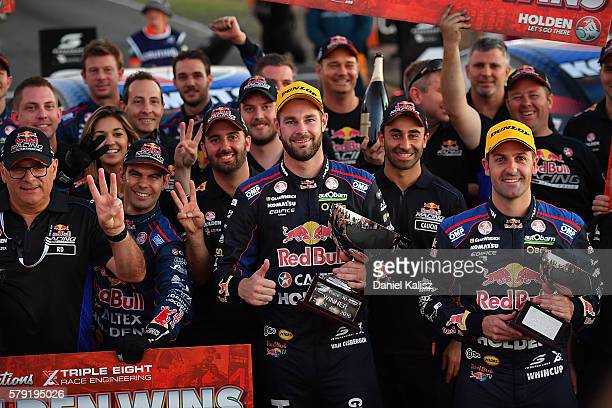 Shane Van Gisbergen driver of the Red Bull Racing Australia Holden Commodore VF and Jamie Whincup driver of the Red Bull Racing Australia Holden...
