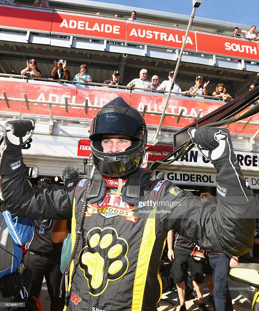 Shane Van Gisbergen driver of the #97 Tekno Autosports Holden celebrates after taking pole position for the Clipsal 500, which is round one of the V8 Supercar Championship Series, at the Adelaide Street Circuit on March 1, 2013 in Adelaide, Australia.