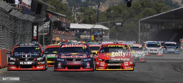 Shane Van Gisbergen drives the Red Bull Holden Racing Team Holden Commodore VF during race 1 for the Clipsal 500 which is part of the Supercars...