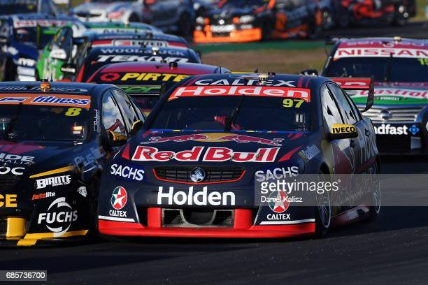Shane Van Gisbergen drives the Red Bull Holden Racing Team Holden Commodore VF during race 9 for the Winton SuperSprint which is part of the...