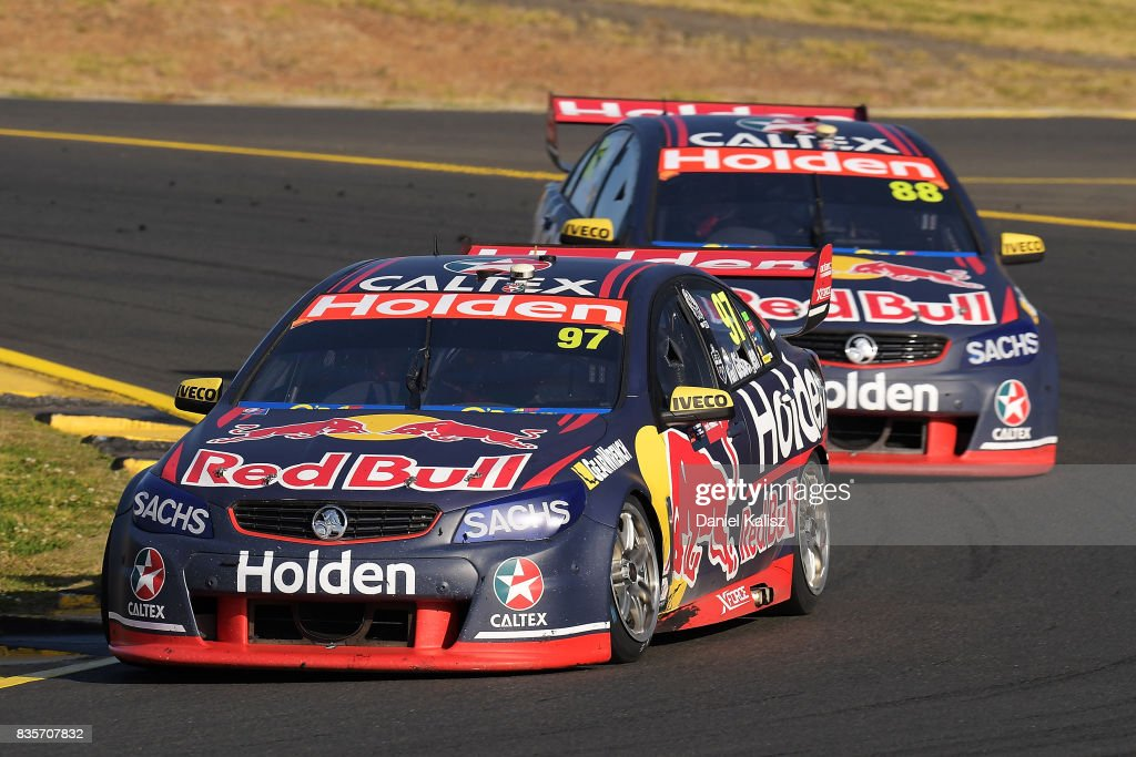 Shane Van Gisbergen drives the #97 Red Bull Holden Racing Team Holden Commodore VF leads Jamie Whincup drives the #88 Red Bull Holden Racing Team Holden Commodore VF during race 18 for the Sydney SuperSprint, which is part of the Supercars Championship at Sydney Motorsport Park on August 20, 2017 in Sydney, Australia.