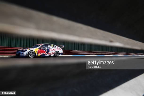 Shane Van Gisbergen drives the Red Bull Holden Racing Team Holden Commodore VF during the Sandown 500 which is part of the Supercars Championship at...