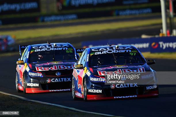 Shane Van Gisbergen drives the Red Bull Racing Australia Holden Commodore VF during race 2 for the V8 Supercars Sydney SuperSprint at Sydney...