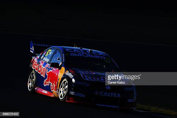 Shane Van Gisbergen drives the Red Bull Racing Australia Holden Commodore VF during race 1 for the V8 Supercars Sydney SuperSprint at Sydney...