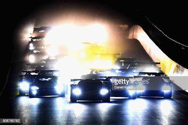 Shane van Gisbergen drives the Tekno Autosports Mclaren 650s at the start of the Bathurst 12 Hour Race at Mount Panorama on February 7 2016 in...