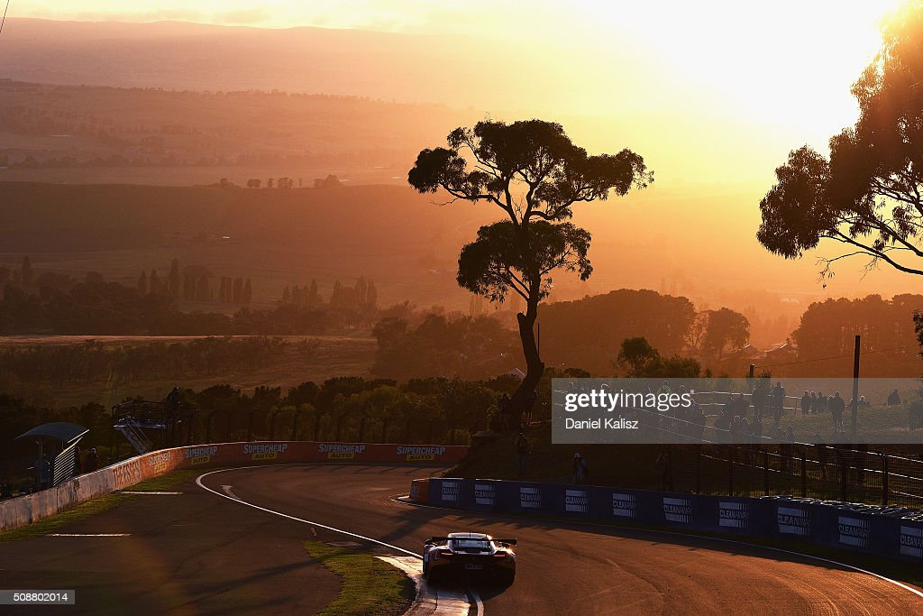 Shane van Gisbergen drives the #59 Tekno Autosports Mclaren 650s during the Bathurst 12 Hour Race at Mount Panorama on February 7, 2016 in Bathurst, Australia.